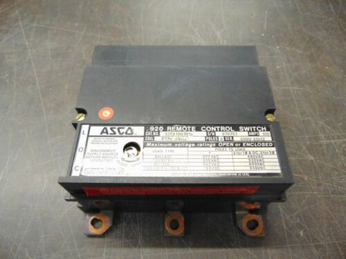 ASCO 920 Remote Control Switch 3 Poles 100 Amps 277v 920310070