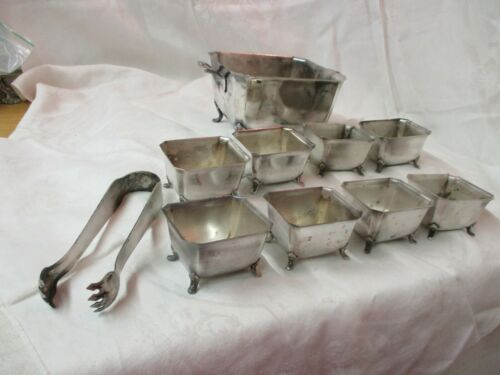 Antique Meriden Silver plated 10 pc Butter Dish Master 8 Individual Tongs #650