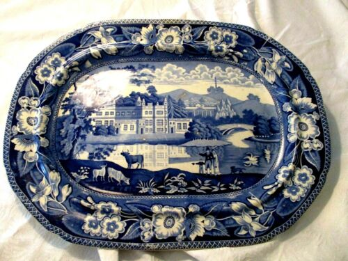 Staffordshire Colbalt Blue White Transferware Early 1800