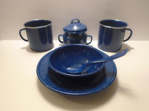 Speckled Blue Enamelware Camping Bowls Mugs Small Kettle Spoon 6 Piece
