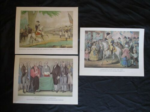 3 1968 Currier & Ives Prints Related to George Washington & Revolutionary War