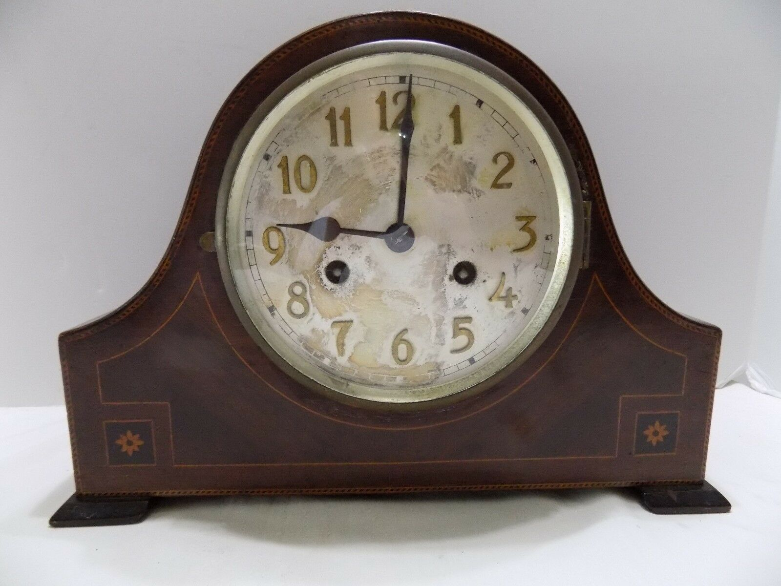 VIintage Enfield KEY WOUND MANTLE CLOCK  BROWN VENEER  CHIMES(RX-8)