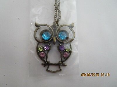 NEW Rhinestone OWL Pendant Long Chain Necklace