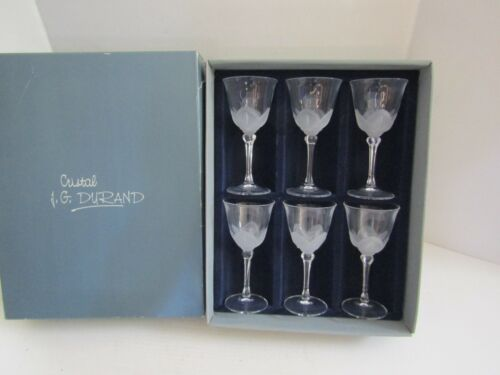 JG DURAND FLORENCE Crystal WINE WATER Set of 6 SATINE IN BOX GLASSES 6 OZ