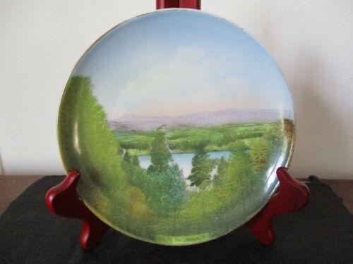 Circa 1910 Souvenir Porcelain Plate Pine Hill Pond Rutland Vermont