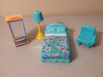 Fisher Price My First Dollhouse furniture Parent's bedroom blue bed lamp armoire