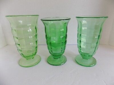 """3 Green Depression Glass 6"""" Footed Tumblers Iced Tea Water Optic Panel"""