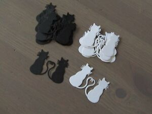 'Cat silhouette Couple' Die-Cuts  x 16- Black/White *Free P&P'