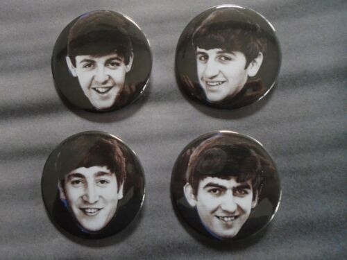 "The Beatles / Set of 4 buttons, pins, ""Faces"" Exc. New cond. 2 1/4"" diameter"