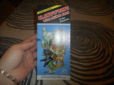 Vintage Brochure Claws & Paws Wild Animal Park In the Poconos