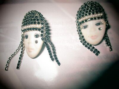 VINTAGE FLAPPER GIRL PIERCED EARRINGS SIGNED AND DATED