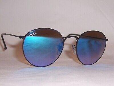 New RAY BAN Sunglasses ROUND METAL 3447 002/4O BLACK/MIRROR GRADIENT BLUE 53 mm