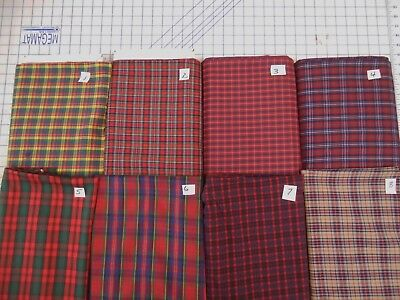 (Tartan plaid poly/cotton lgt fabric yarn dyed Tokai finish 1 yd x 44