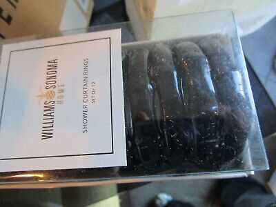 - Williams Sonoma Home Shower curtain rings set 12 black bamboo look New