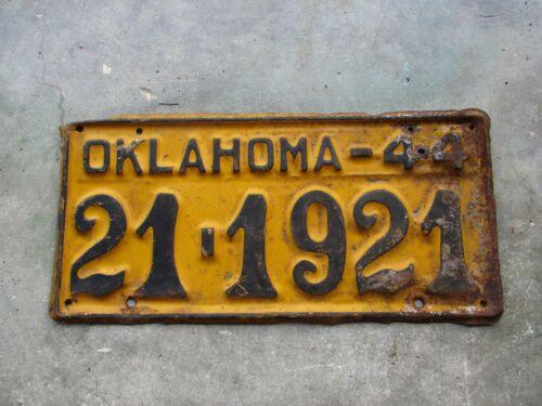 Oklahoma 1944 license plate #   21 - 1921