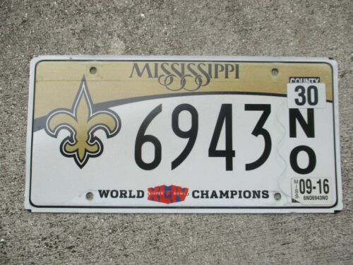 Mississippi 2016 World champ. N.O. Saints NFL  license plate  #   6943