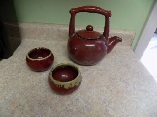 Antique Glaze Ware Teapot And Two Cup Set No Damage