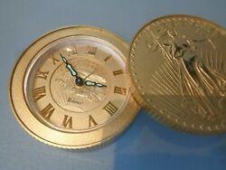 Vintage Bulova  Walking Liberty Coin Desk Travel Wind Up Alarm Clock