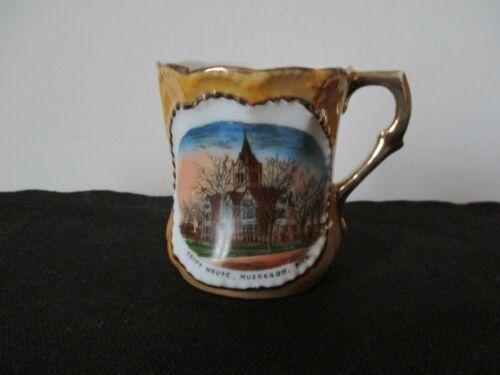 Circa 1915 Souvenir Porcelain Cup Court House Muskegon Michigan