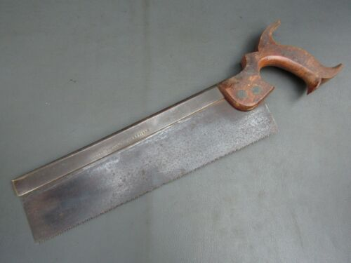 """Vintage 12"""" brass backed tenon saw old tool by Henry Temple & Co"""