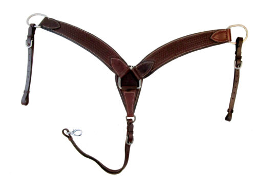 """WORKING HORSE BREAST COLLAR 2.5"""" WIDE PLEASURE TRAIL ROPING TACK TOOLED LEATHER"""