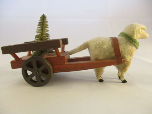 Vintage Wooly Sheep with Stick Legs Pulling Wooden Cart