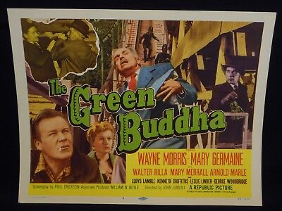 Wayne Morris The Green Buddha Carnation 1955 Title Lobby Card VF Crime