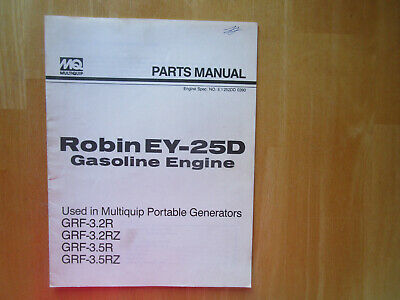 Robin Ey-25d Gasoline Engine Parts Manual Used In Multiquip Portable Generators