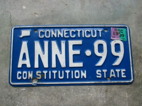 Connecticut vanity license plate  #    ANNE - 99
