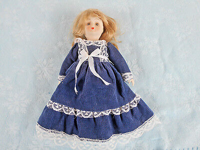 """Vintage Bisque, Cermaic Head, Hands & Feet 11"""" Doll With Clothing"""