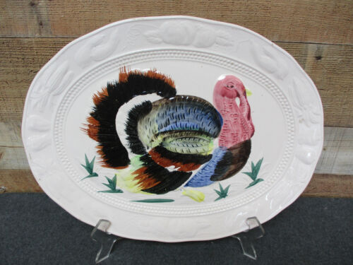 "Vintage Thanksgiving Turkey Platter 18-1/4"" x 14"" Embossed Japan"