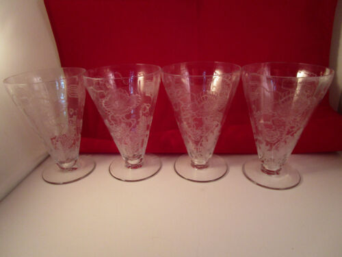 Vintage Etched Flower Elegant Clear Glass Set of 4 Optic Iced Tea Glasses
