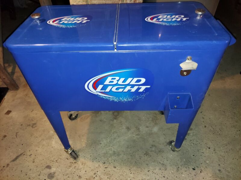 Bud Light Display Cooler Wheels Budweiser Beer Party Bottle Opener Tailgate BBQ