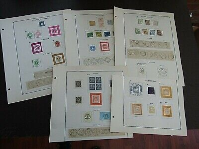 GERMANY STATES - FINE COLLECTION OF EARLY FOURNIER FORGERIES ON ORIGINAL PAGES