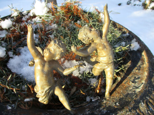 ANTIQUE PATINATED WEATHERED SPELTER CHERUBS ON STICK GARDEN PLANTER ORNAMENTS