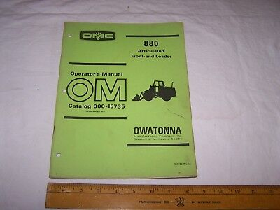 1974 Omc 880 Front End Articulated Loader Operators Manual 000-15735 Owatonna