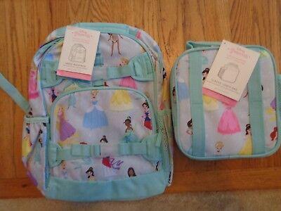 Pottery Barn Kids Mackenzie Aqua Princess Large Backpack   Lunch Bag Nwt