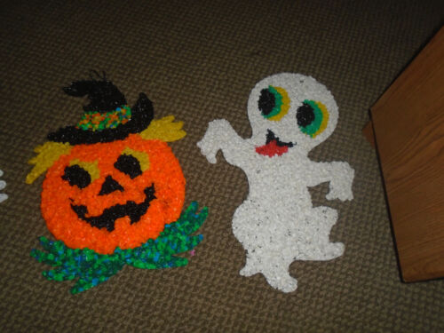 Vintage Melted Plastic Popcorn Halloween Pumpkin and Ghost