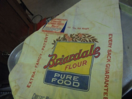 Vintage Briardale Flour Cloth Bag Sack Des Moines Iowa