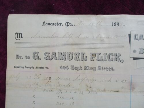 1894 Lancaster,Pa. Fire Chief H.N. Howell signed (9 other signatures) document!
