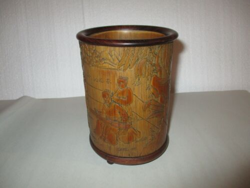 "6 1/2"" Bamboo Brush Pot Signed"