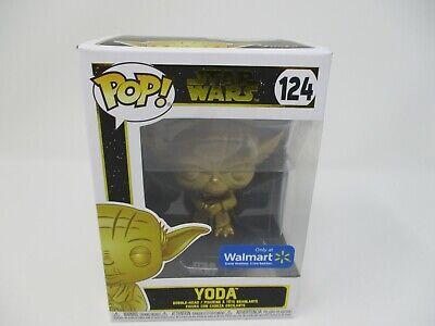 Star Wars Funko Pop Gold Yoda Walmart Exclusive RARE #124