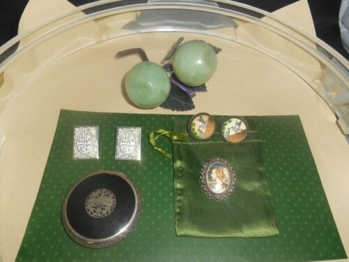 ESTATE JEWELRY DECO jade fruit Hawaii estate Portrait pin sterling compact
