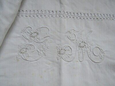 Leinen Mangeltuch Fischgrätmuster 220//79,5 cm um 1920 Antique Linen Mangelcloth