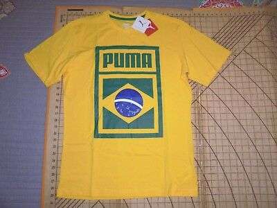 MENS LARGE YELLOW PUMA BRAZIL SOCCER T-SHIRT - NWT