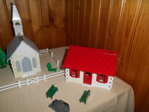 Lot Of 2 Vintage Christmas Plastic Church & House w/ Fireplace Trees Fence Bench