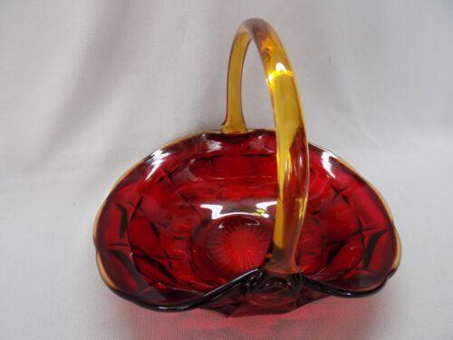 Vintage Indiana Glass Tiara Constellation Sunset Amberina Basket  Artist Mark JD