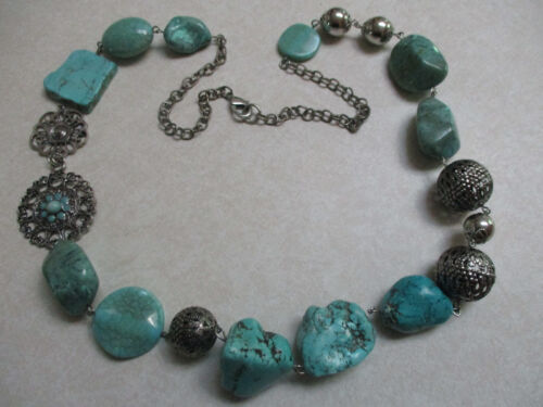 ESTATE JEWELRY REAL TURQUOISE FAUX TURQUIOSE CHUNKY SILVER TONE BEAD NECKLACE