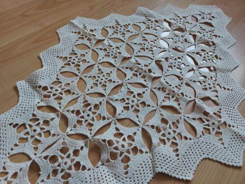 ANTIQUE Beautiful Vintage Handmade Crochet Lace Rhomboid Tablecloth Runner