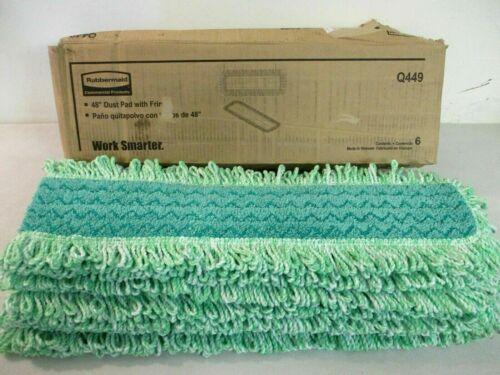 "(6) Rubbermaid Commercial Q449 HYGEN 48"" Microfiber Green Dust Mop with Fringe"